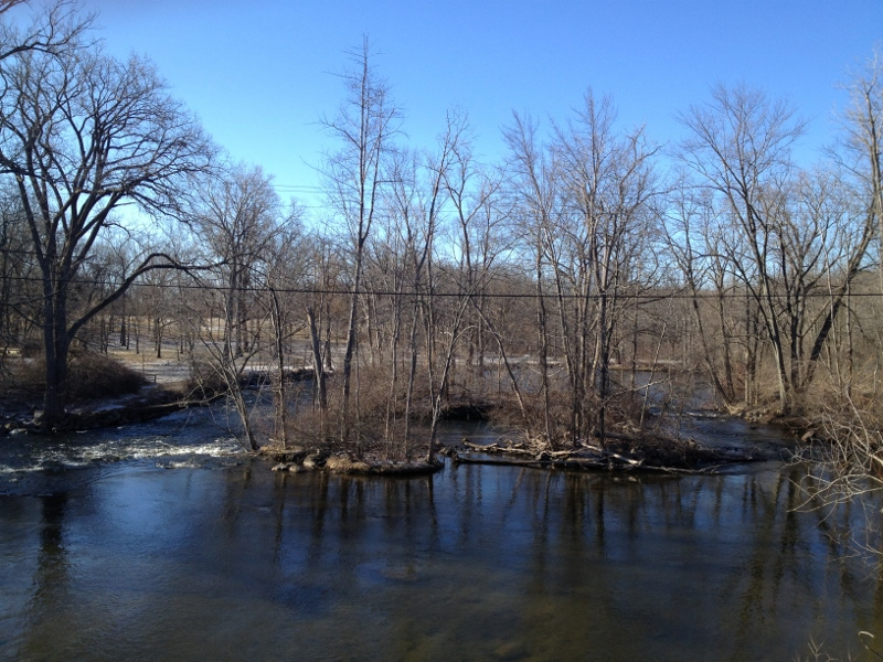 Huron River in Early Spring at Hudson Mills Metopark in Dexter, MI.